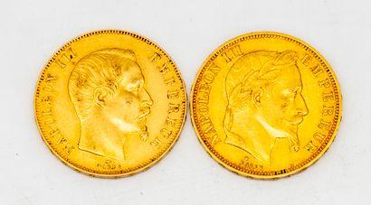 Deux pièces de 50 francs or  1858 - 1867