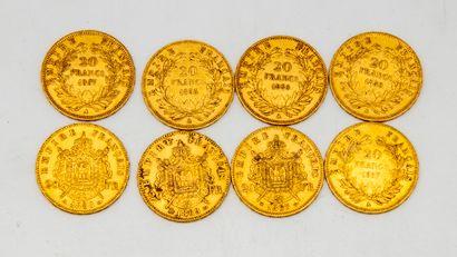 Huit pièces de 20 francs Or Napoléon III...
