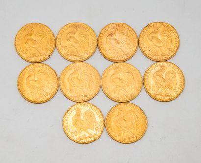 Dix pièces de 20 francs or au coq  1905 -...