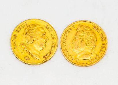 Deux pièces de 40 francs or Louis XVIII  1817...