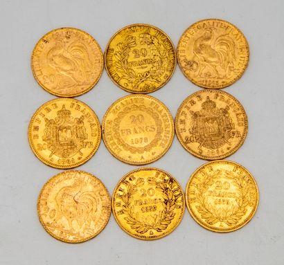 Neuf pièces de 20 francs or République ,...