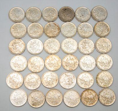 36 pièces de 5 Francs argent