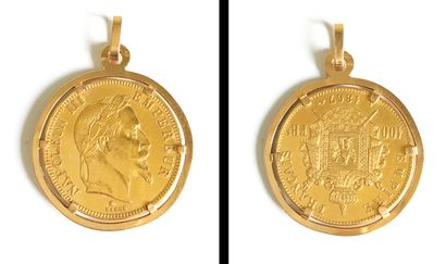 Pièce de 100fcs or Napoléon III tête laurée...