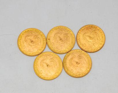 Cinq pièces de 10 francs or au coq