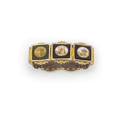 Bracelet articulé orné de plaques en onyx...