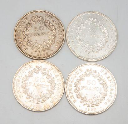 Lot de 4 pièces de 50 francs argent