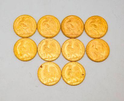 Dix pièces de 20 francs or au coq  1906 -...