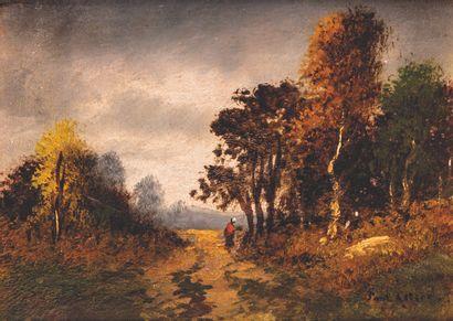ECOLE FRANCAISE ECOLE FRANCAISE de la fin du XIXe, autour de Barbizon  Paysages de...