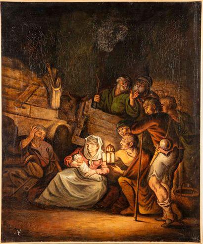 ECOLE du XIXe  L'adoration des bergers  Huile...
