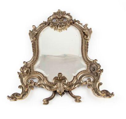 Miroir de toilette en bronze argenté de forme...