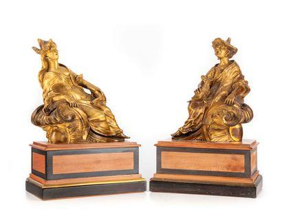 Paire d'éléments de chenets en bronze doré...