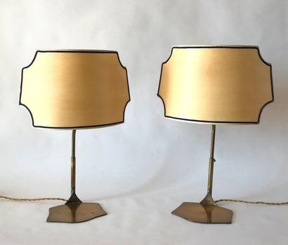 Paire de lampes en métal réglables en hauteur....