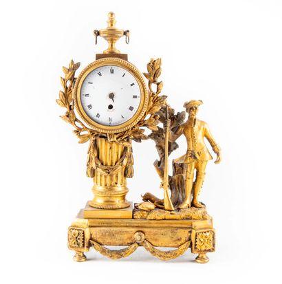 Petite pendule «Au chasseur » en bronze doré,...