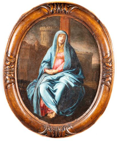 Ecole française du XVIIIè 18th century FRENCH SCHOOL  Virgin  Oil on oval canvas...