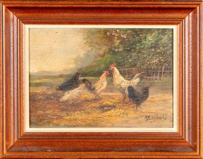 DUBOIS DUBOIS (XXe)  Les poules  Paire d'huiles sur panneaux  Signé en bas à droite...
