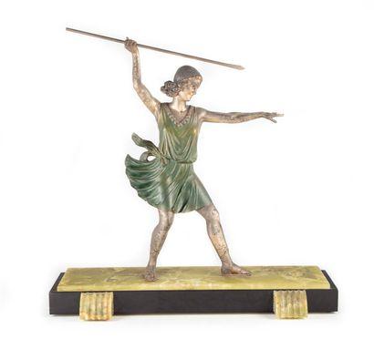 La Lanceuse de javelot  Sculpture en régule...