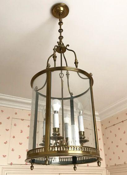 Importante lanterne cylindrique en bronze...