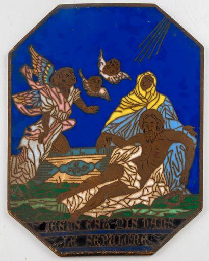 Plaque en bronze à décor émaillé d'une scène...