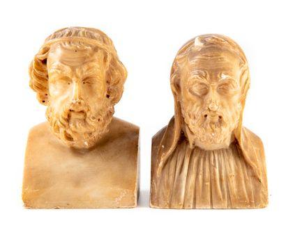 Buste d'Homere et Michel Ange en albâtre....