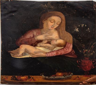 ECOLE FLAMANDE du XVIIIe  Vierge à l'enfant...