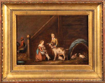 ECOLE FLAMANDE du XIXe  Deux enfants avec...