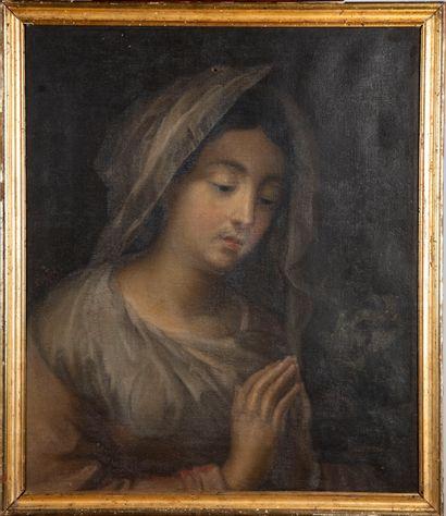 ECOLE FRANCAISE XIXe  Femme en prière  Huile...