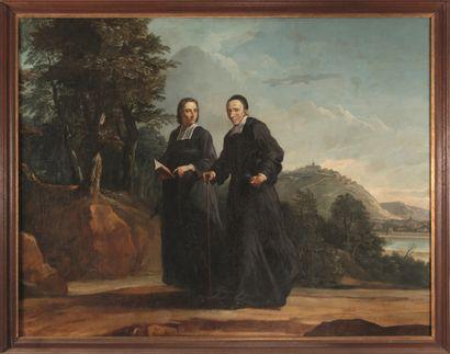 ECOLE FRANCAISE DU XIXe siècle  L'abbé Tournus en compagnie du diacre Pâris sur...