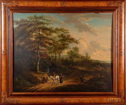 ECOLE FLAMANDE dans le goût du XVIIe  Paysage au moulin à eau, animé de personnages...