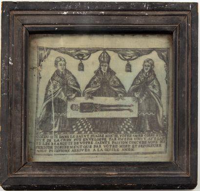 Scène religieuse avec une inscription
