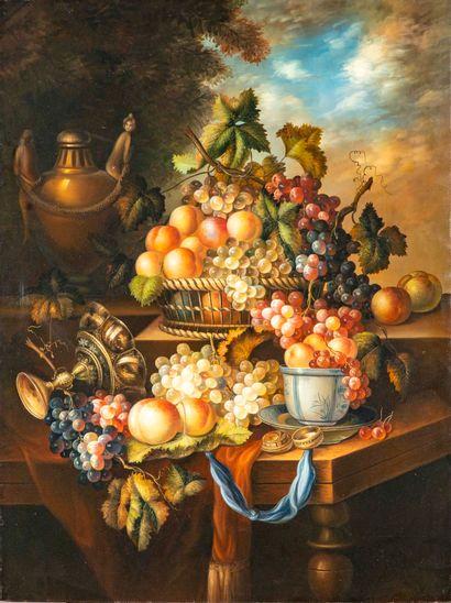 D'après une ECOLE HOLLANDAISE du XVIIe  Nature morte aux raisins  Procédé décoratif...