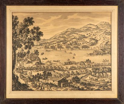 D'après le XVIIIe  L'armée en déplacement  Paire de gravures  H. : 38,5 cm ; L....