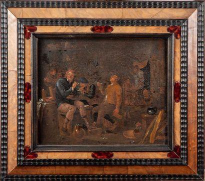 ECOLE FLAMANDE du XIXe, dans le goût du XVIIe  Groupe de fumeurs dans une auberge...