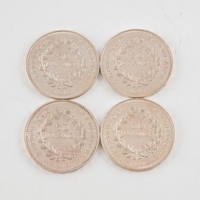 Lot de 4 pièces de 50 francs Hercule