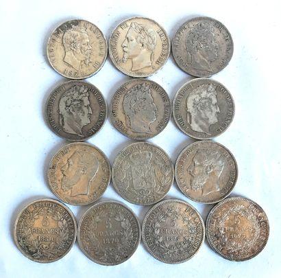 Lot comprenant 13 pièces en argent de : 5...