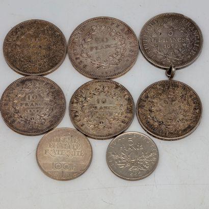 Lot de pièces en argent dont une 50 francs...