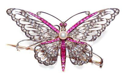 Broche trembleuse en forme de papillon en...
