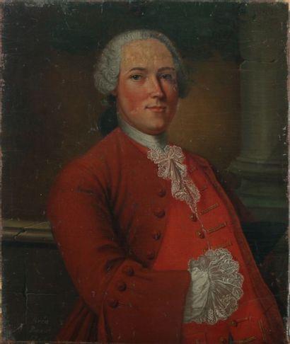 BREAN PINAUT Portrait d'homme.  Huile sur toile signée et daté 1741.  80 x 60 c...