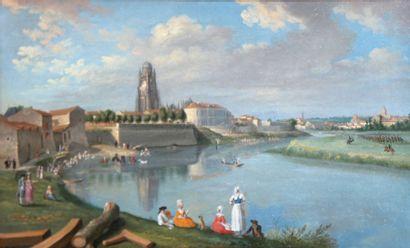 ECOLE FRANCAISE DU XVIIIème siècle,  Paire de vues d'une ville du sud-ouest (Albi...