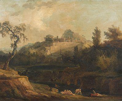 Hubert ROBERT et Atelier (Paris 1733-1808) Baigneuses dans un paysage Toile 73 x...