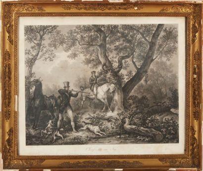 D'après Carl VERNET.  Paire de gravures.  40 x 52 cm à vue.