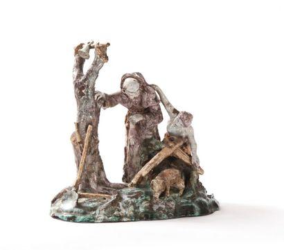 Nevers (attribué à)  Grand groupe à deux figures en faïence représentant saint Antoine...