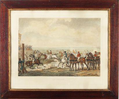 La course.  Gravure anglaise.  38 x 54 cm...