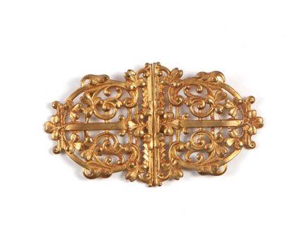 Boucle de ceinture en métal doré à décor...