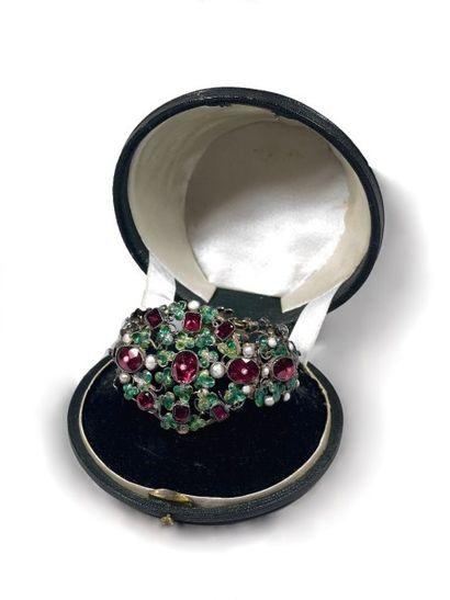 Bracelet articulé en argent émaillé à décor...