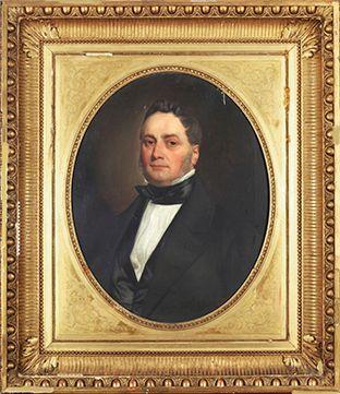 Charles LANDELLE (Laval 1812 - 1908),  Portrait d'homme dans un ovale peint,  Portrait...