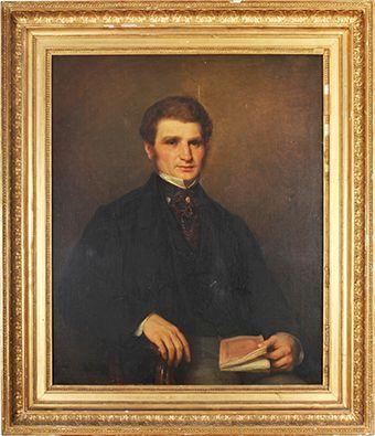 Gustave MARQUERIE (Paris 1825 - ?),  Portrait d'homme.  Sur sa toile d'origine....
