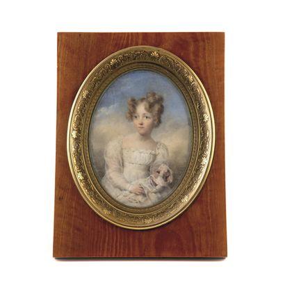 I. ISABEY Miniature ovale Portrait d'Etiennette...