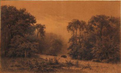 L. SIMON - fin du XIXe Harde de sangliers...