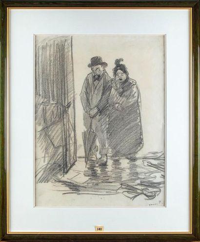 Théophile-Alexandre STEINLEIN (1859 - 1923) Couple au parapluie Dessin au crayon...