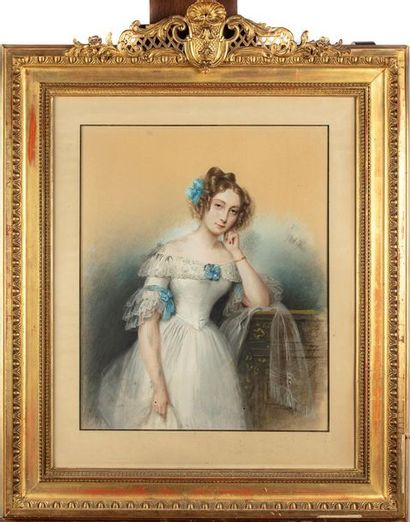 ÉCOLE FRANCAISE DU XIXe Portrait d'une jeune...